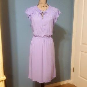 Lavender ruffle sleeve dress